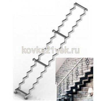 Лестница металлическая на двух косоурах маршевая прямая